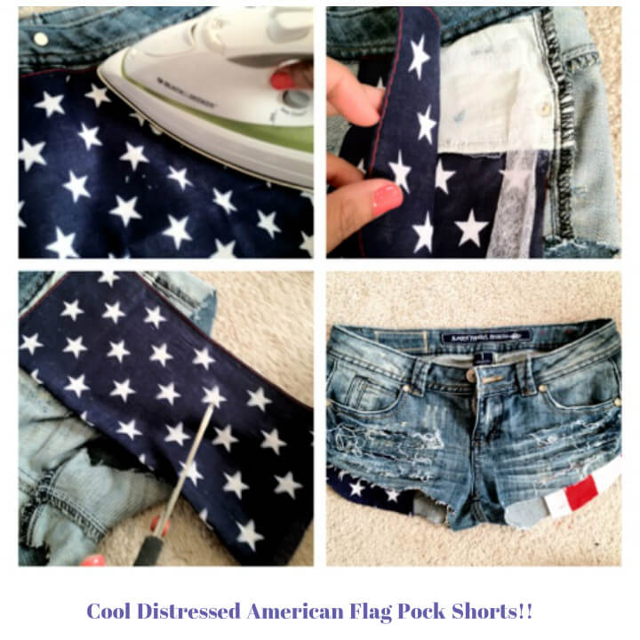 DIY American flag pocket shorts