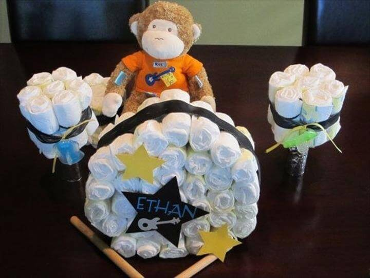 How To Make A Drum Diaper Cake
