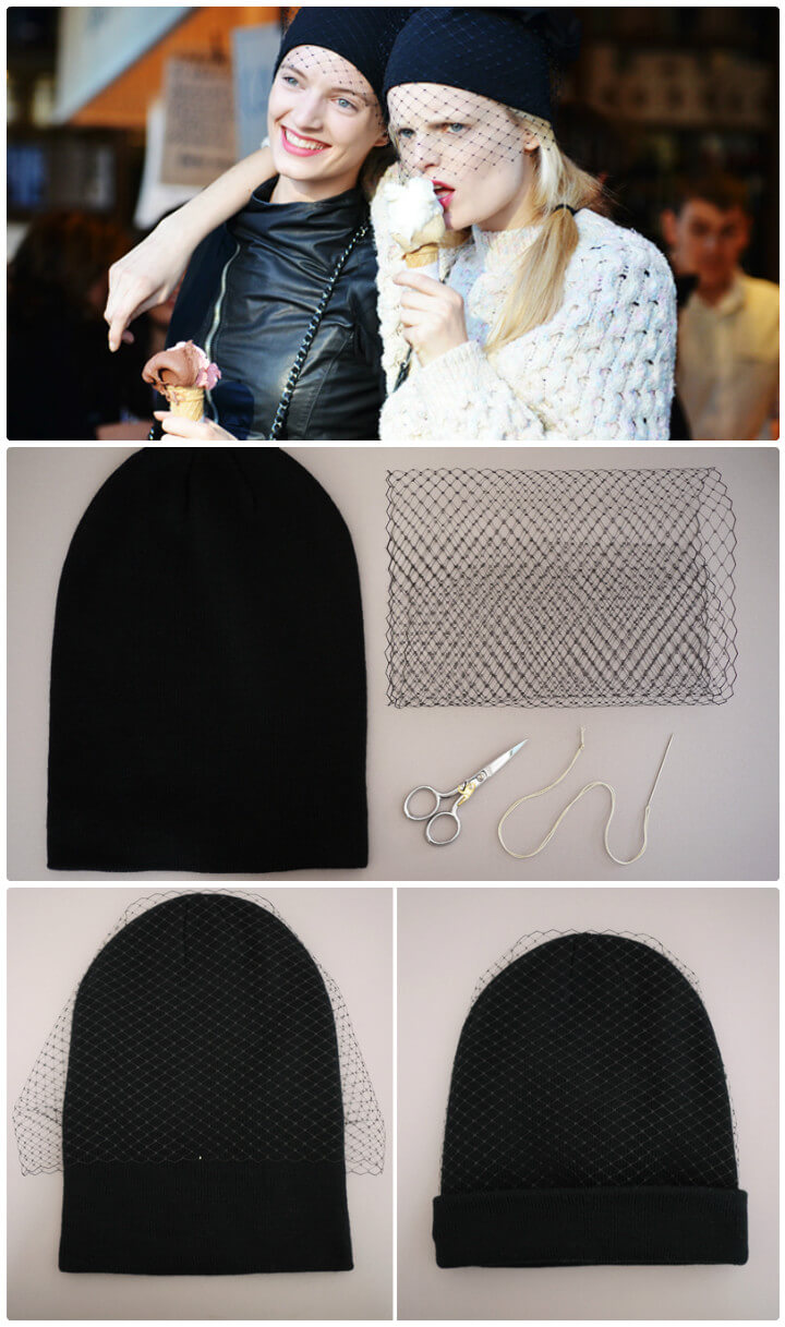 how to make a jil sander veiled beanie