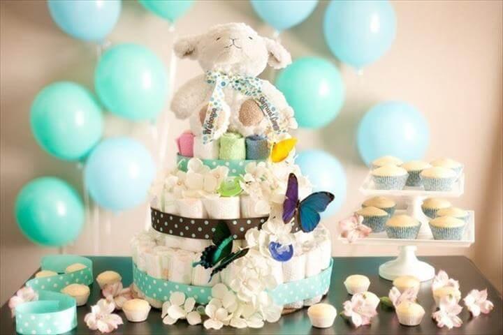 sweet teddy bear diaper cake for baby shower