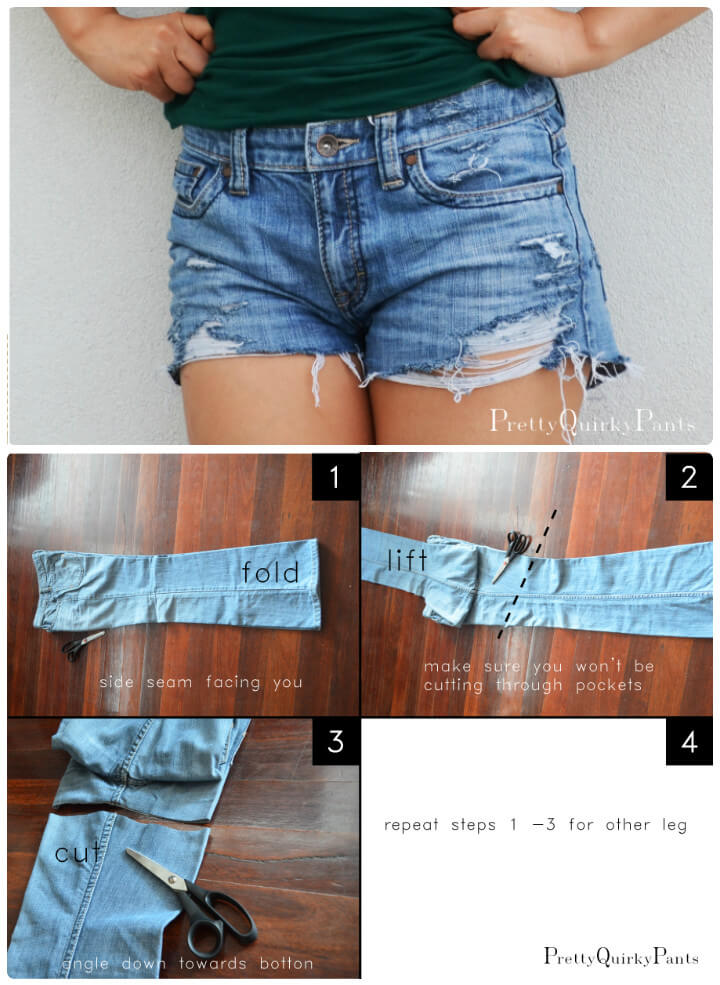 DIY distressed cut-off shorts