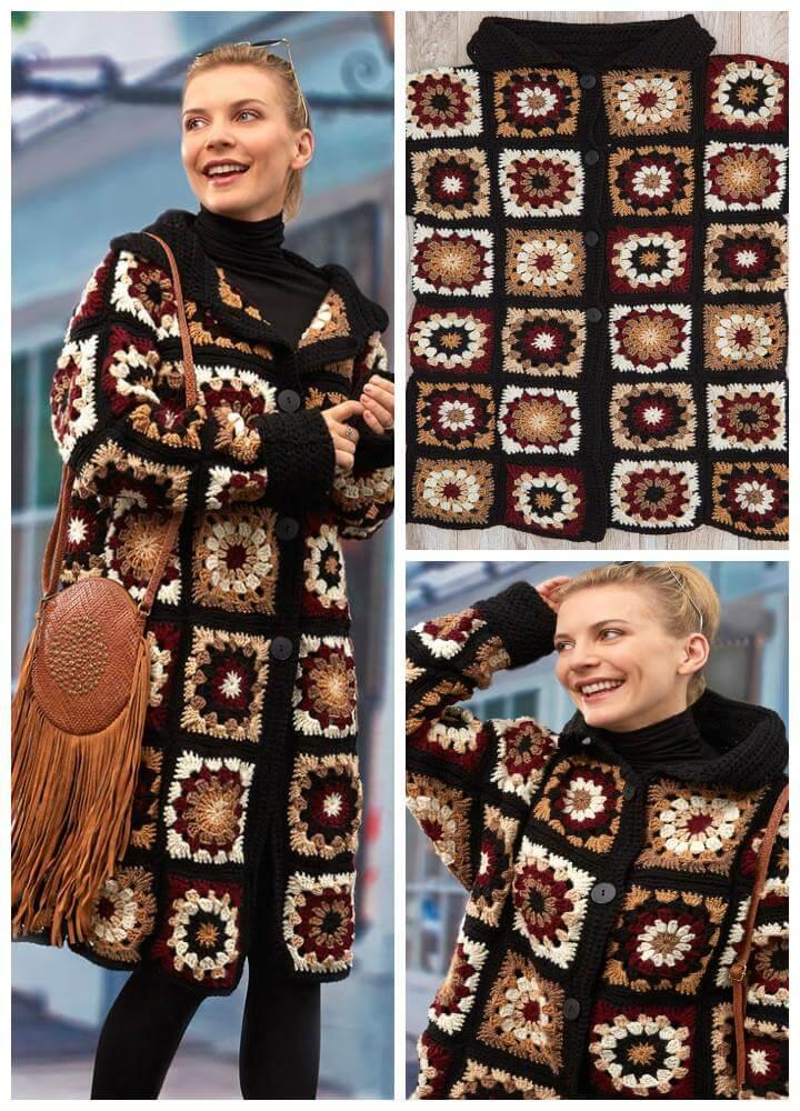 free crochet coatigan in grannies