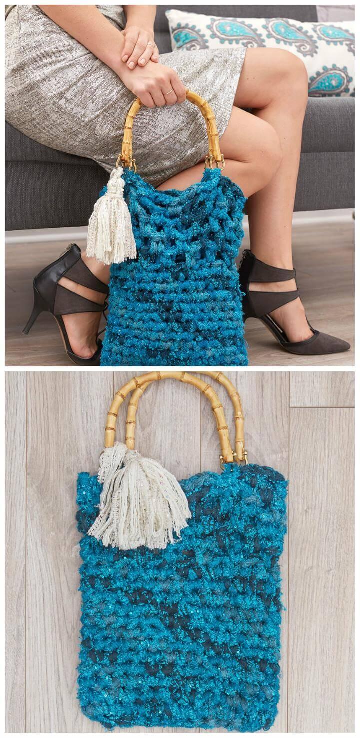 pretty crochet tassel tote