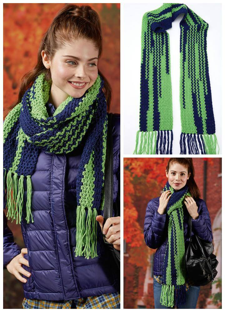 free crochet touch down scarf pattern