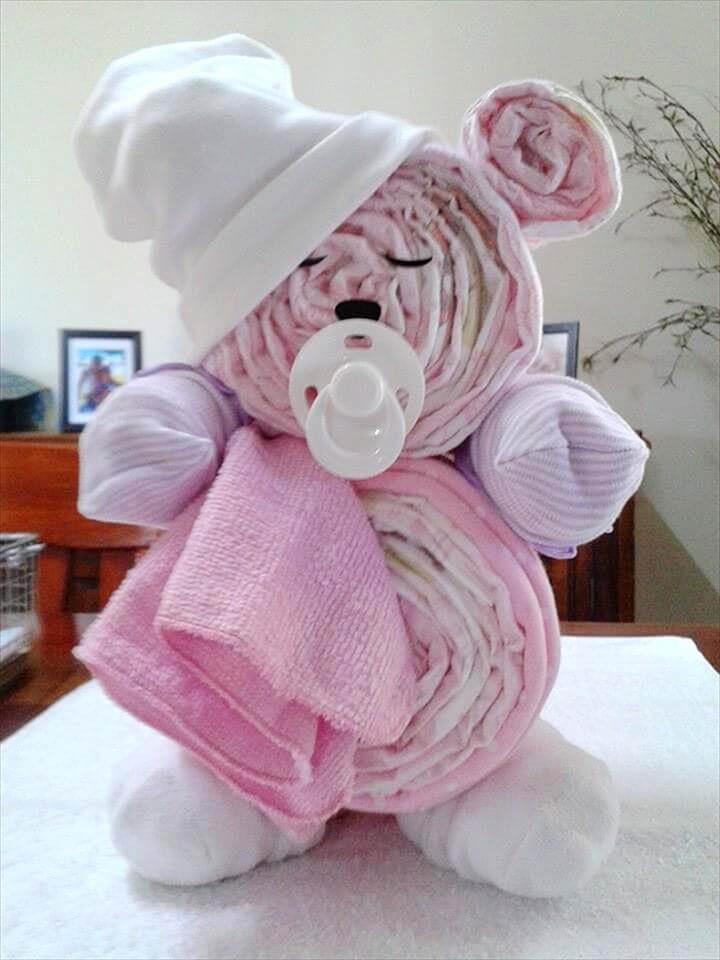 Funky Teddy Bear Diaper Cake