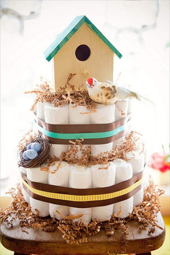 birdhouse themed diaper cake