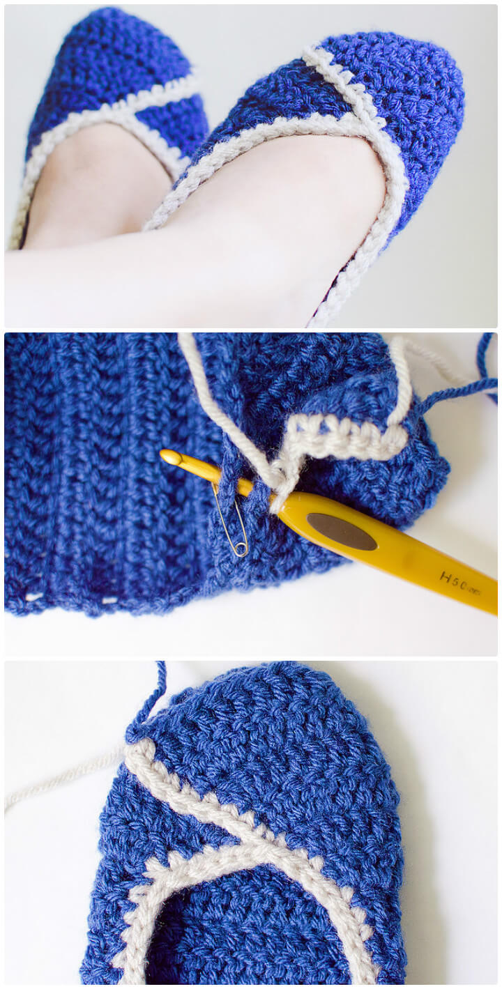 blue and white yarn knit slippers