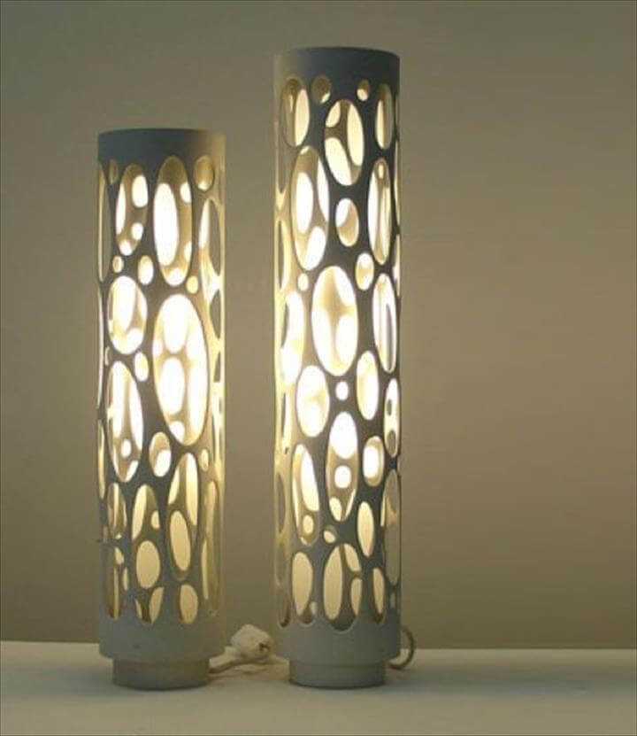 upcycled PVC pipe lamps
