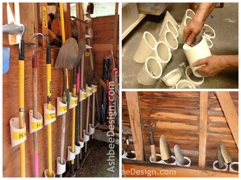 garden tool rack made from chopped PVC pipes