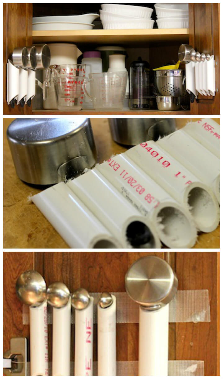 reclaimed PVC pipe kitchen tool organizer