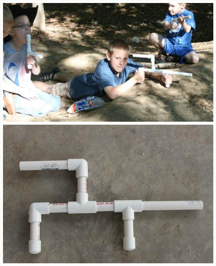 kids marshmallow gun made from PVC pipes