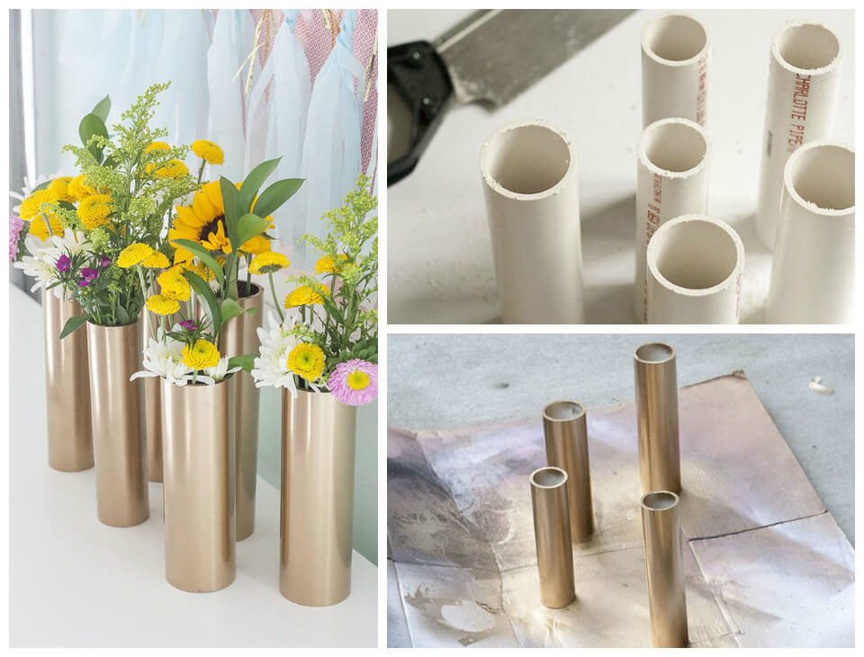 modern spring centerpieces done with PVC pipes