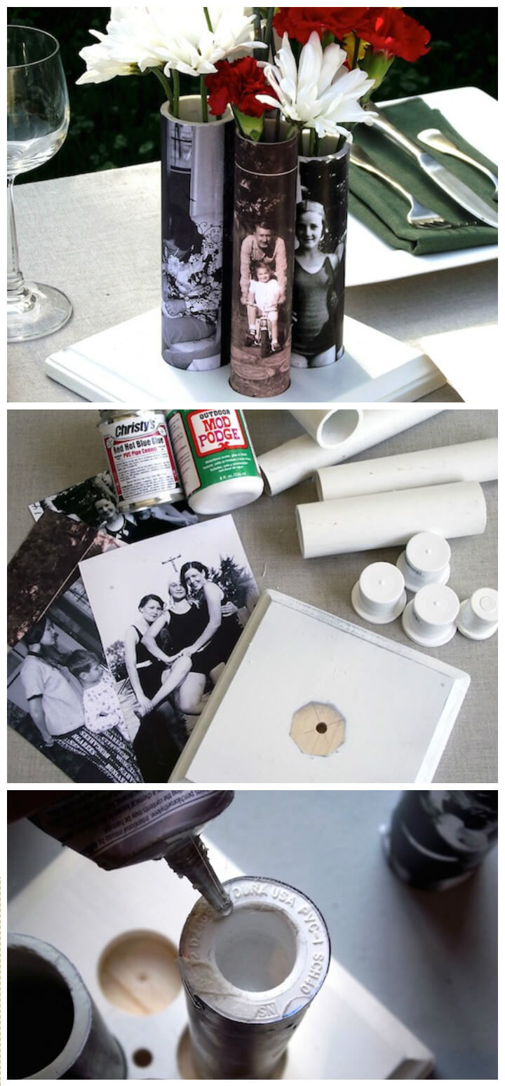 Mother's Day cool vases made from old PVC pipes