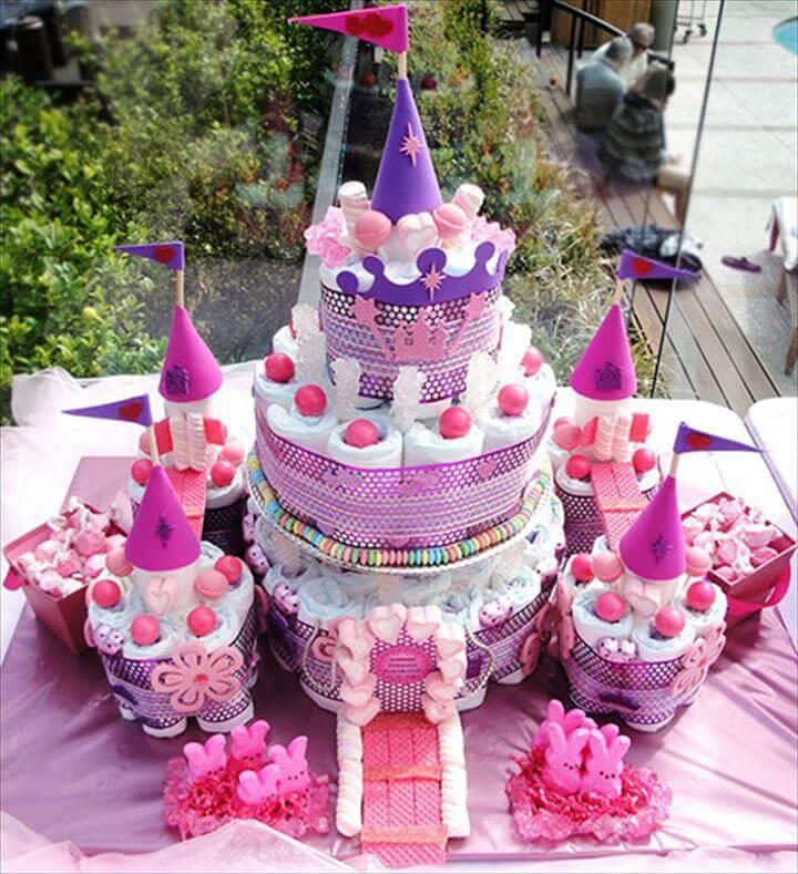 Stunning Castle Diaper Cake