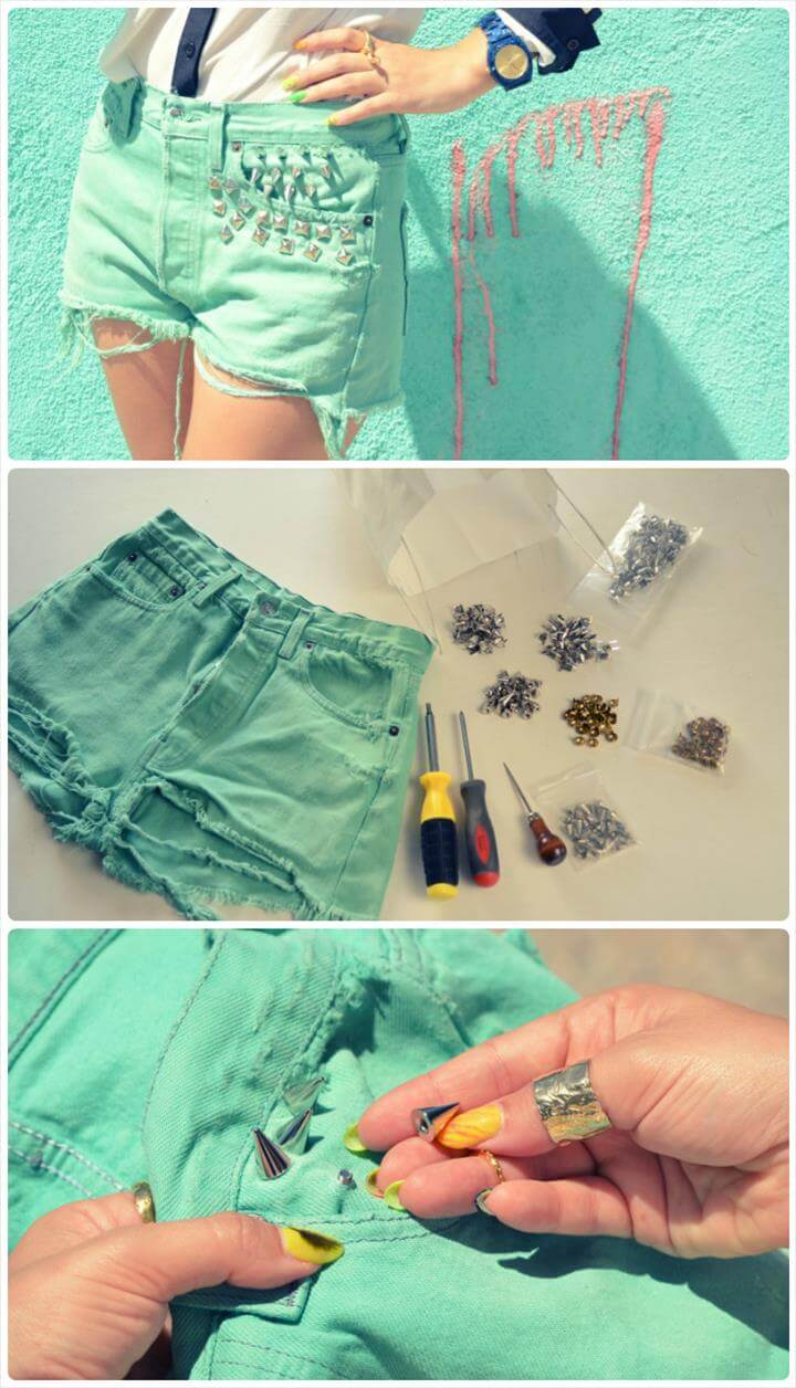 green studded summers shorts DIY