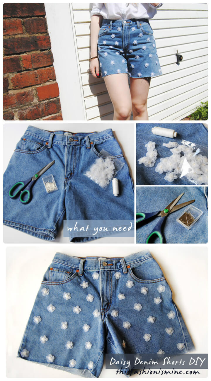 funky daisy denim shorts