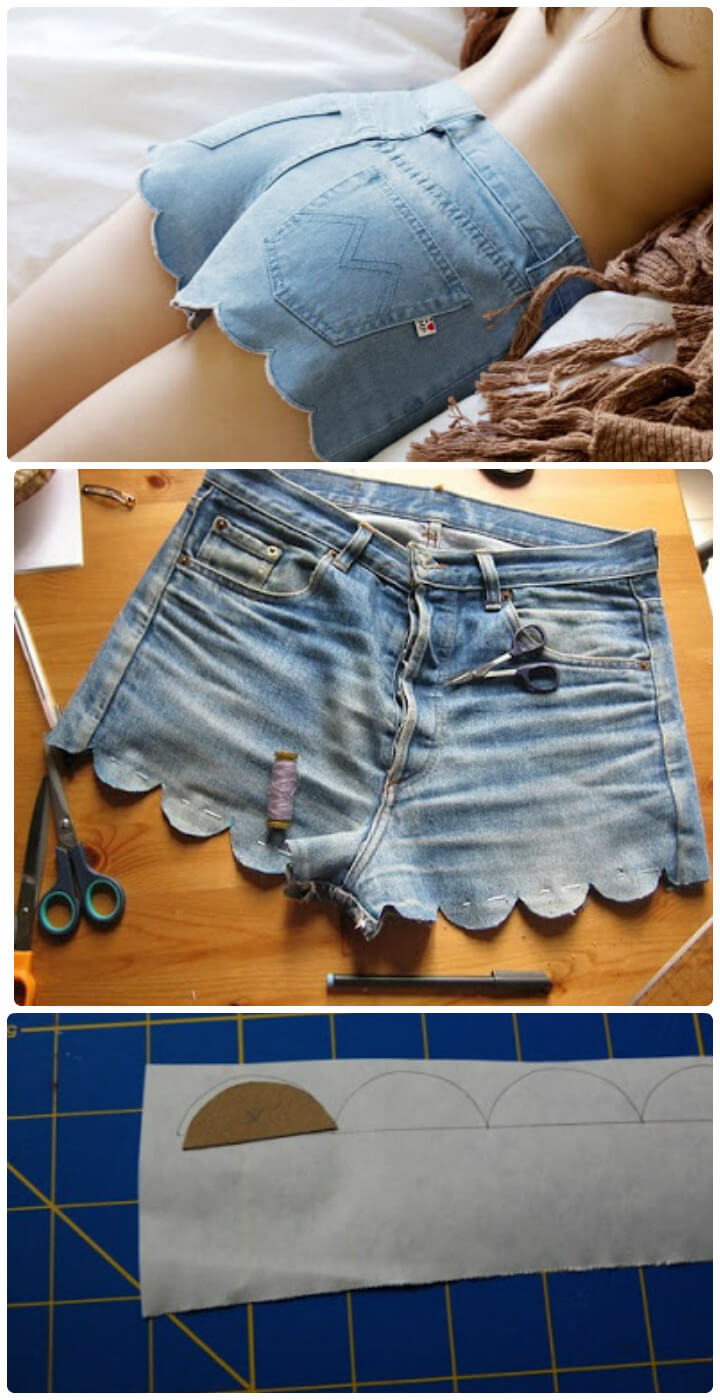 easy DIY scalloped summer shorts tutorial