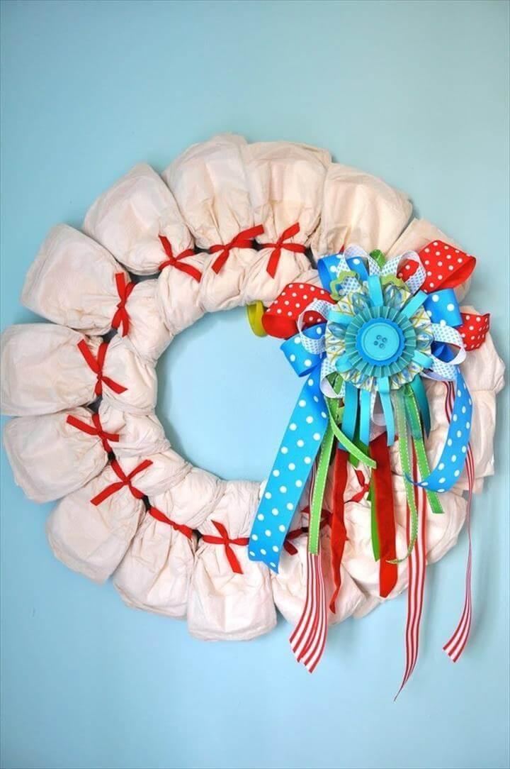 diaper wreath decor for baby bedrooms