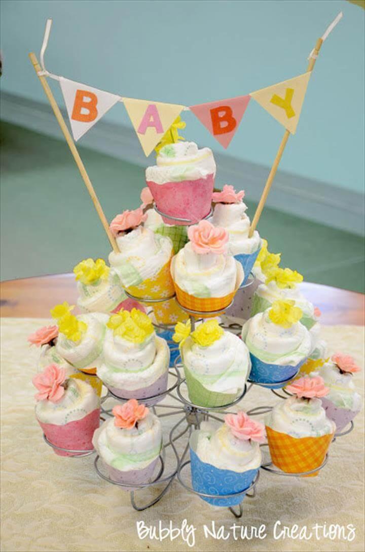 diaper cupcakes DIY
