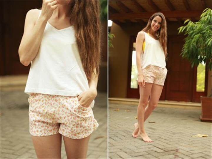 casual floral shorts DIY
