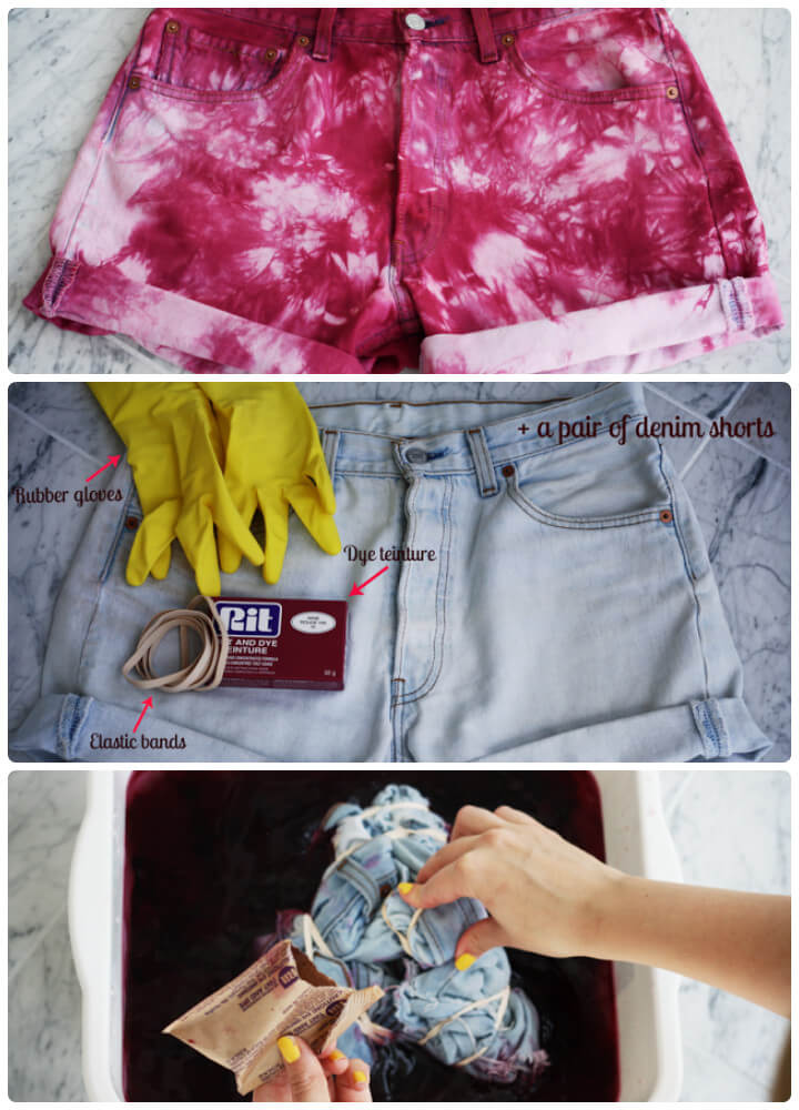 DIY tie dye summer shorts idea