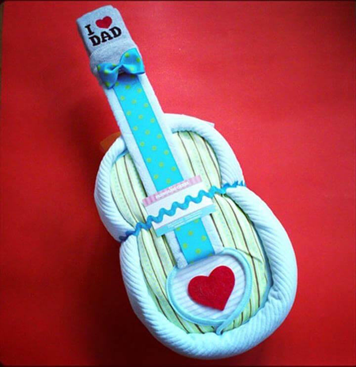 beautiful guitar diaper cake
