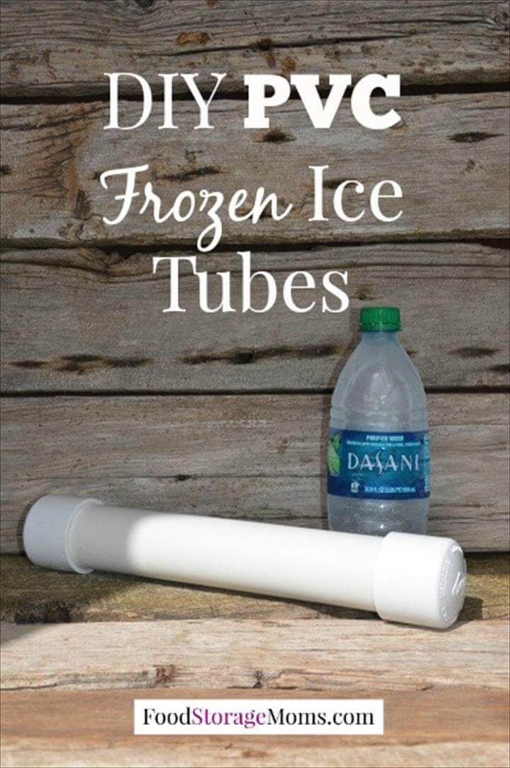 frozen ice tubes made from PVC pipes