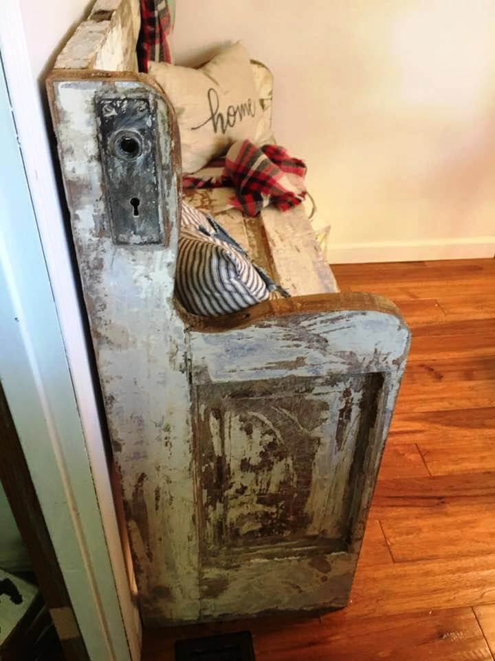 distressed mid century bench made of an old door