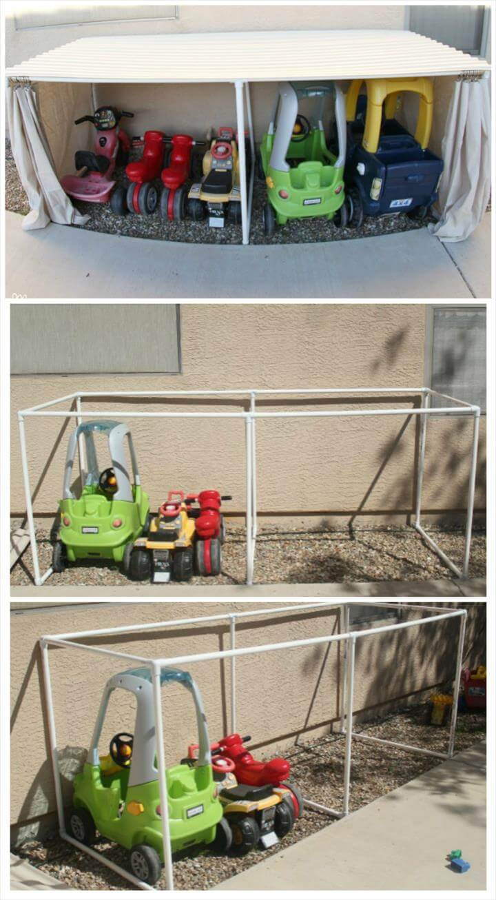 easy-to-made PVC pipe kid's car garage