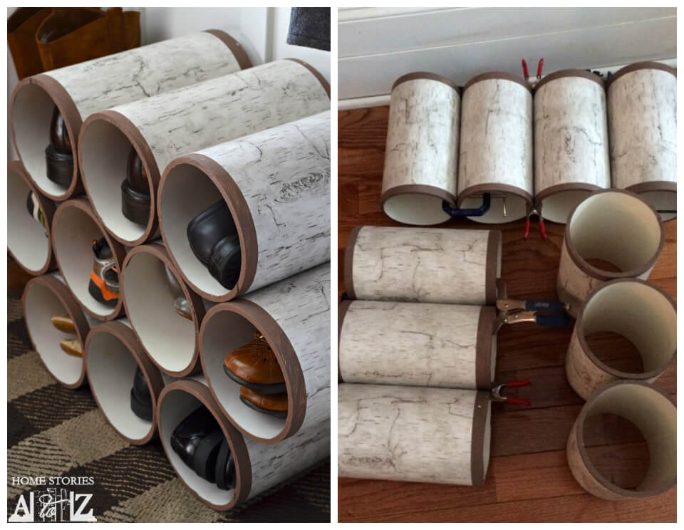 self-made PVC pipe shoes rack