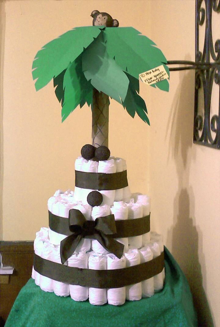 pretty palm tree diaper cake