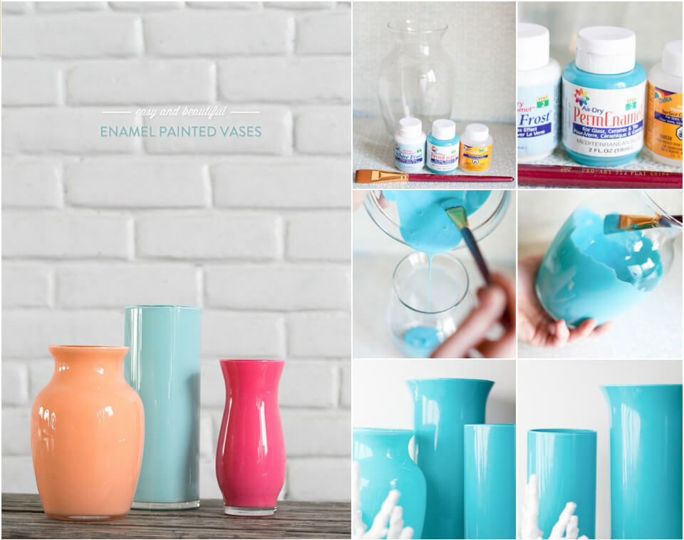 vases modernized with enamel paint