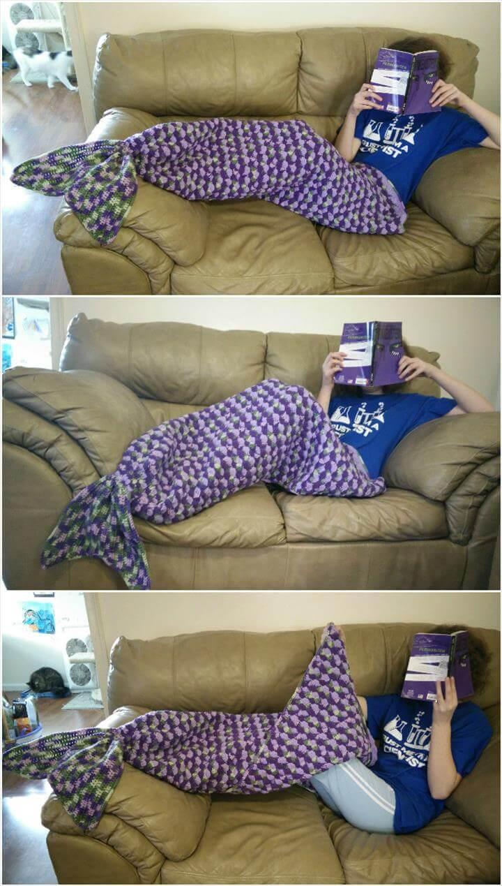 Adult sized mermaid lapghan free crochet pattern
