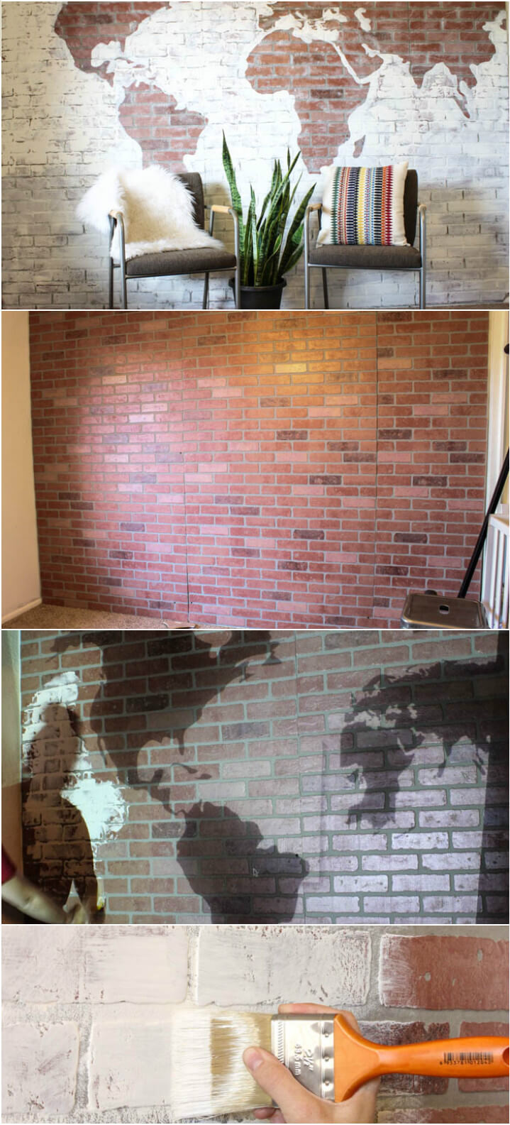 decorative faux brick wall world map