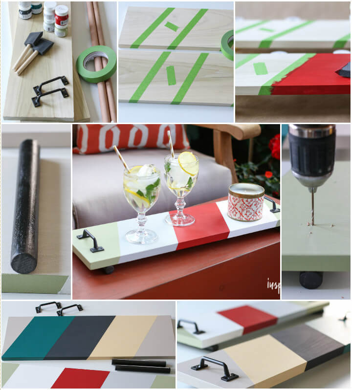 homemade colorful serving trays