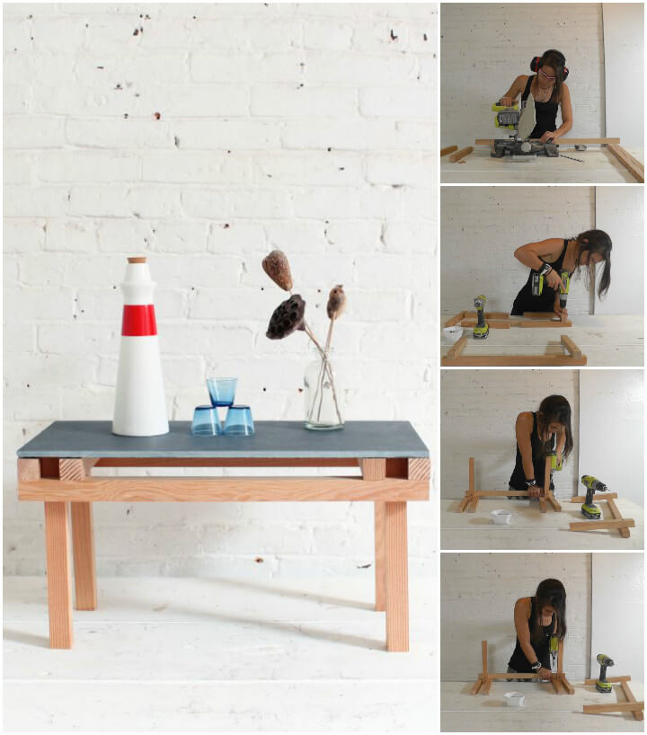 handmade wooden coffee table with tile top