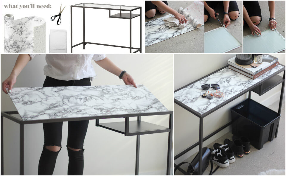 handmade faux marble table