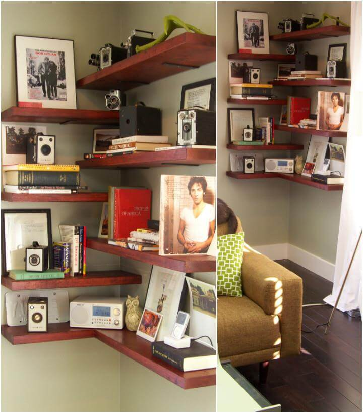 50 diy shelves build your own shelves diy crafts for Build your own corner bookcase