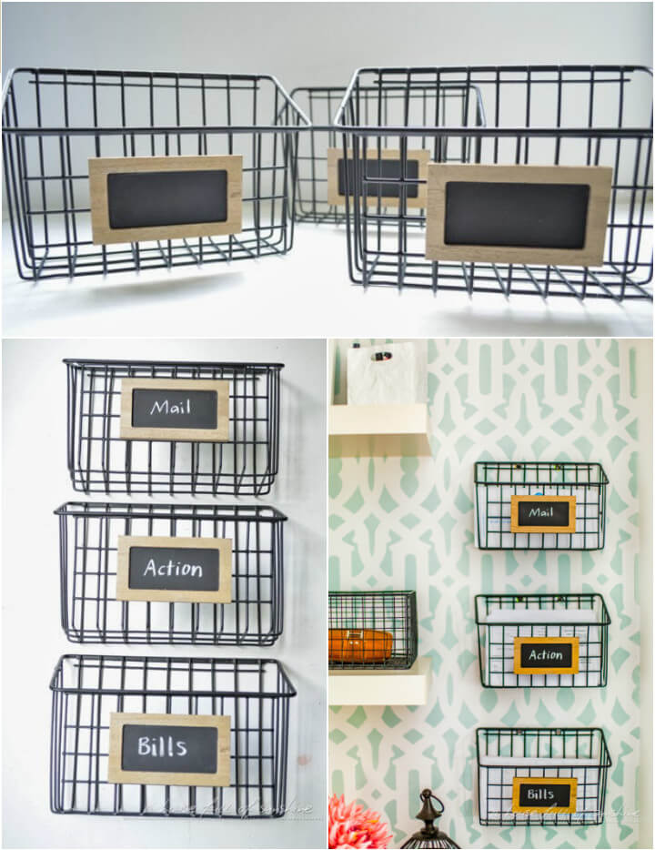 DIY metal wire baskets into mail organizer