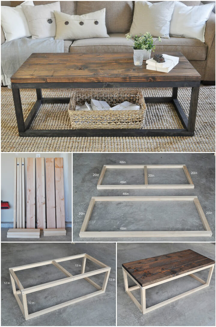 self-made industrial wooden coffee table