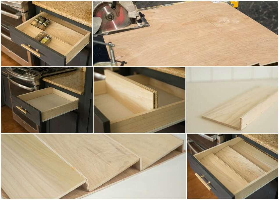 DIY project how to turn a kitchen drawer into spice rack