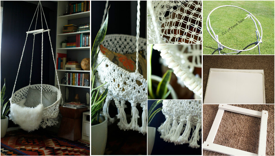 self-made hanging macrame chair
