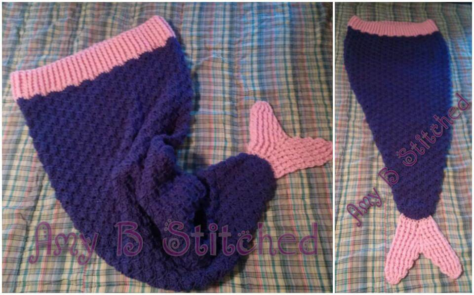 blue and pink mermaid tail cocoon crochet pattern