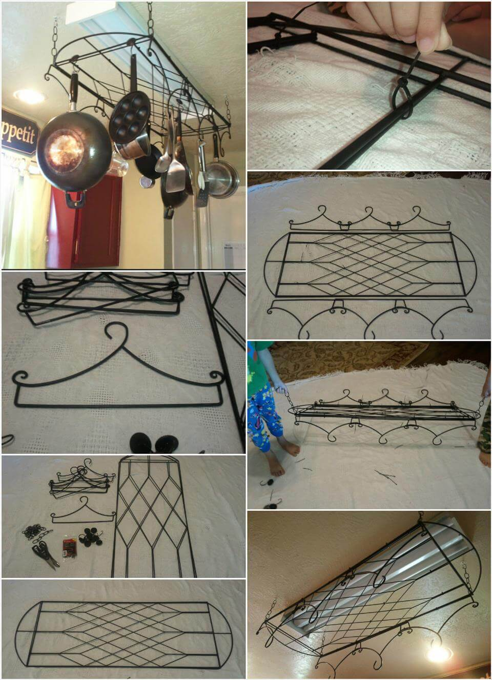 hand-built metallic kitchen pot rack