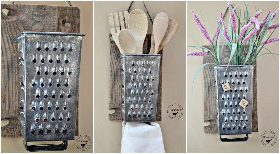 grater into kitchen organizer