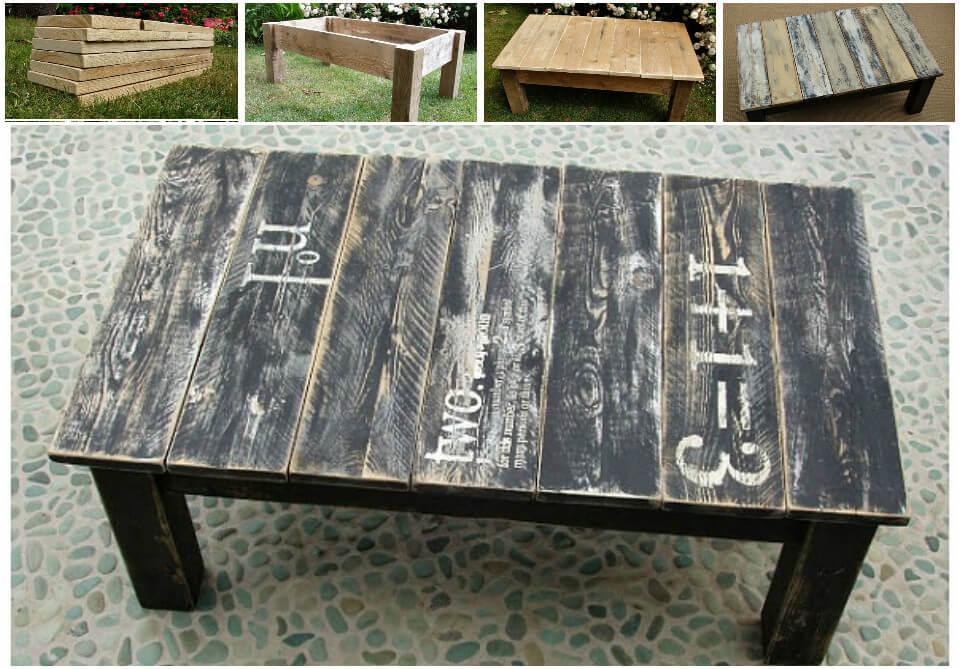 repurposed pallet rustic coffee table