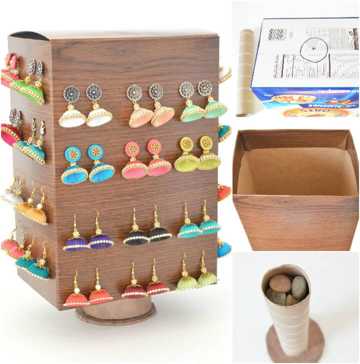 cardboard box into rotating jewelry organizer