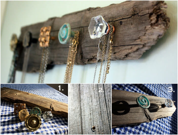 ultra rustic old wood necklace holder