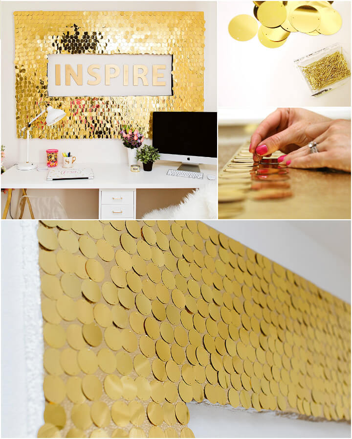 precious golden sequins decorative wall