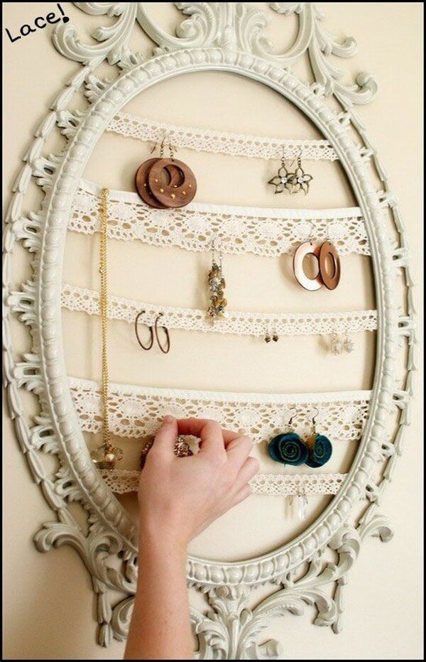 old frame and lace into shabby chic jewelry organizer
